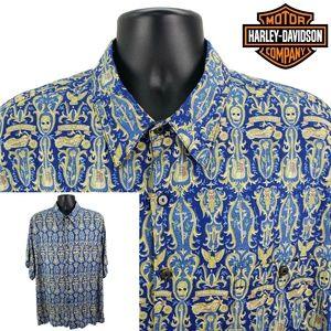 Harley Davidson Men's 2XL Hawaiian Shirt Blue  NEW